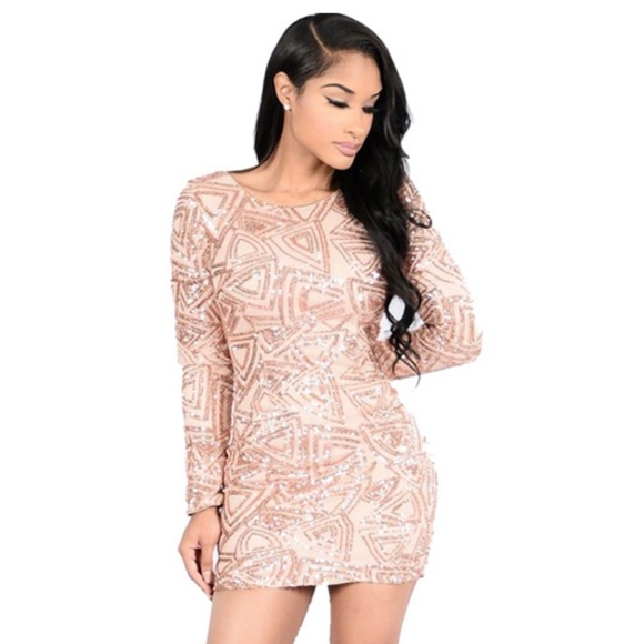 d7f44f33d730 Fashion Nova Dresses   Skirts - FASHION NOVA Sequin Mini Long Sleeve Gold  Dress